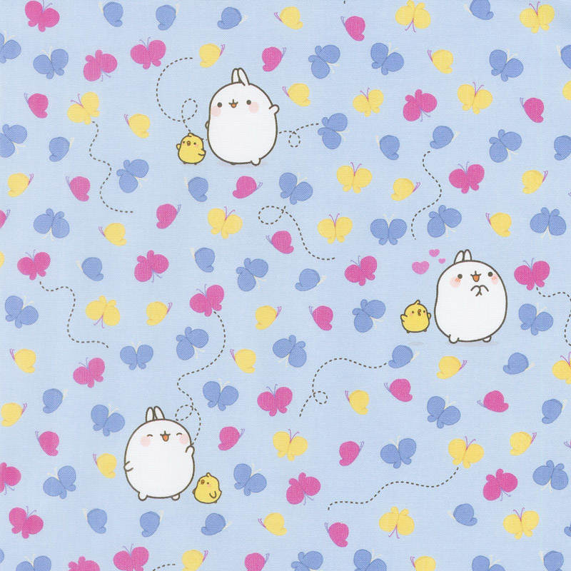 Molang - Butterflies Blue Yardage