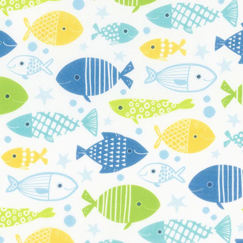 Go Fish - Allover Fish White Multi Yardage