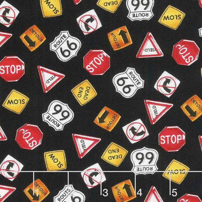 My Favorite Trucks - Traffic Signs Black Yardage