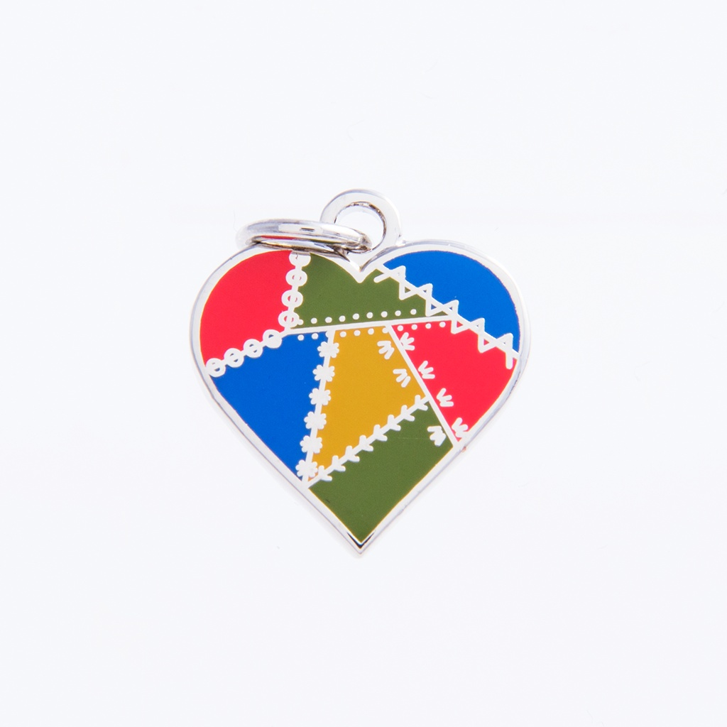 Patched Heart Charm Country by Pin Peddlers