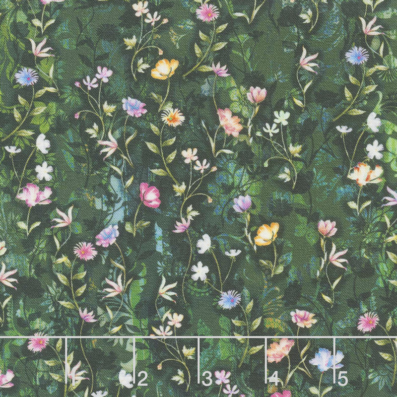 Fleur Couture - Night Blossoms Midnight Green Digitally Printed Yardage