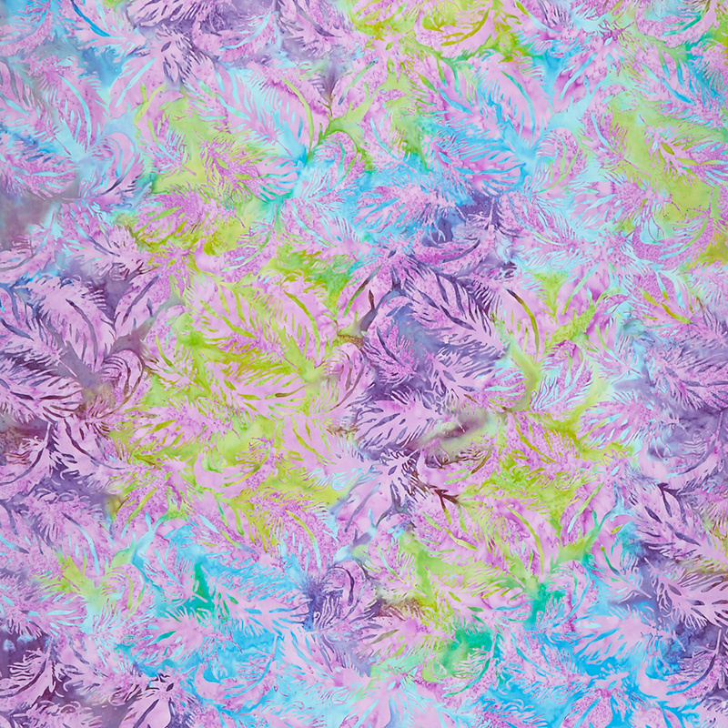 Petal Party Batiks - Tossed Feather Mardi Gras Yardage