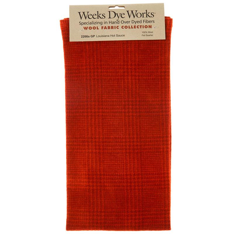 Weeks Dye Works Hand Over Dyed Wool Fat Quarter - Glen Plaid Louisiana Hot Sauce
