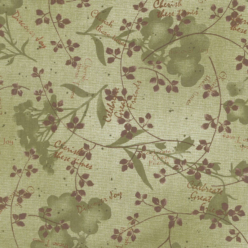 Tickled Pink - Natural Silhouette Green Yardage
