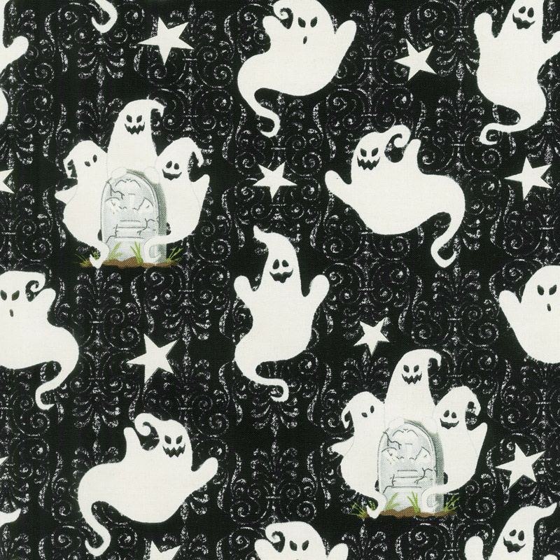Ghostly Glow Town - Ghosts Allover Black Glow in the Dark Yardage