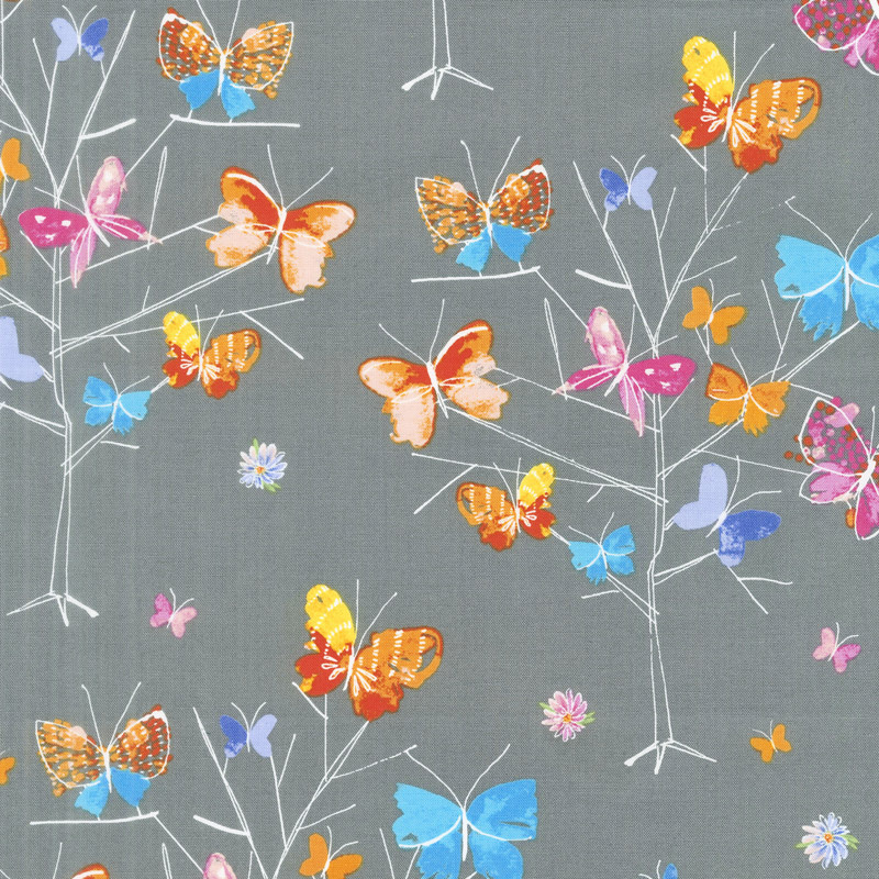 Kaleidoscope - Butterfly Trees Charcoal Yardage