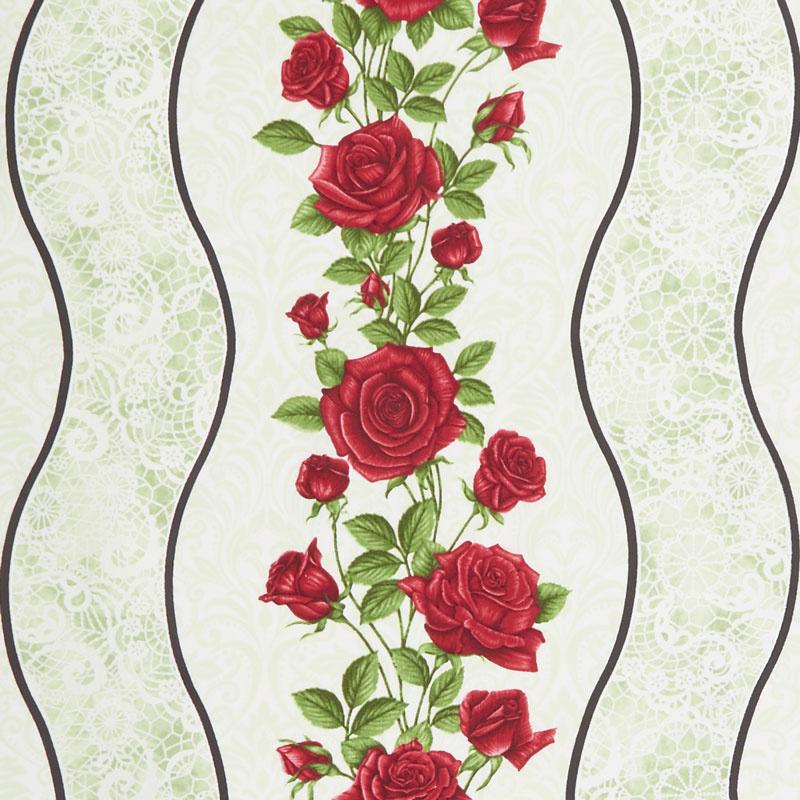 A Festival of Roses - Festive Roses Stripe Green Pearlized Yardage