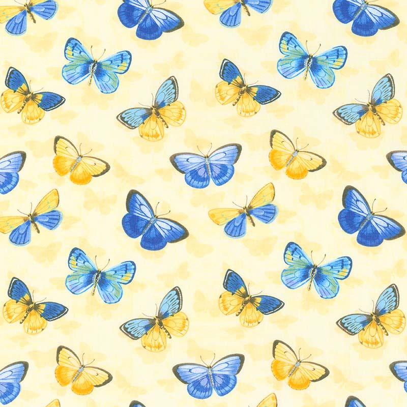 Madison - Butterflies Yellow Yardage