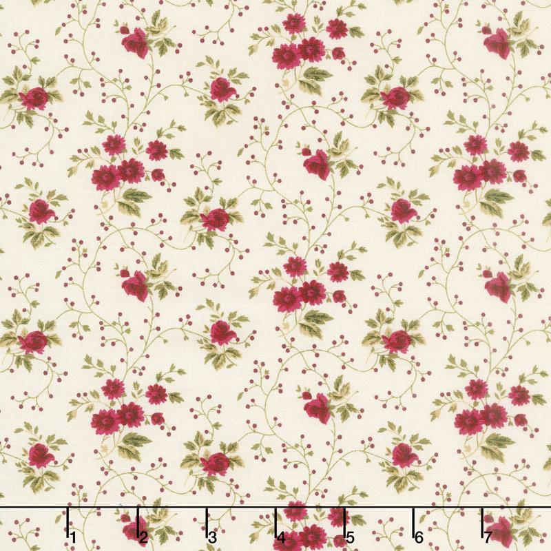 Red & Blue...and Roses Too! - Sweet Springs Red Yardage
