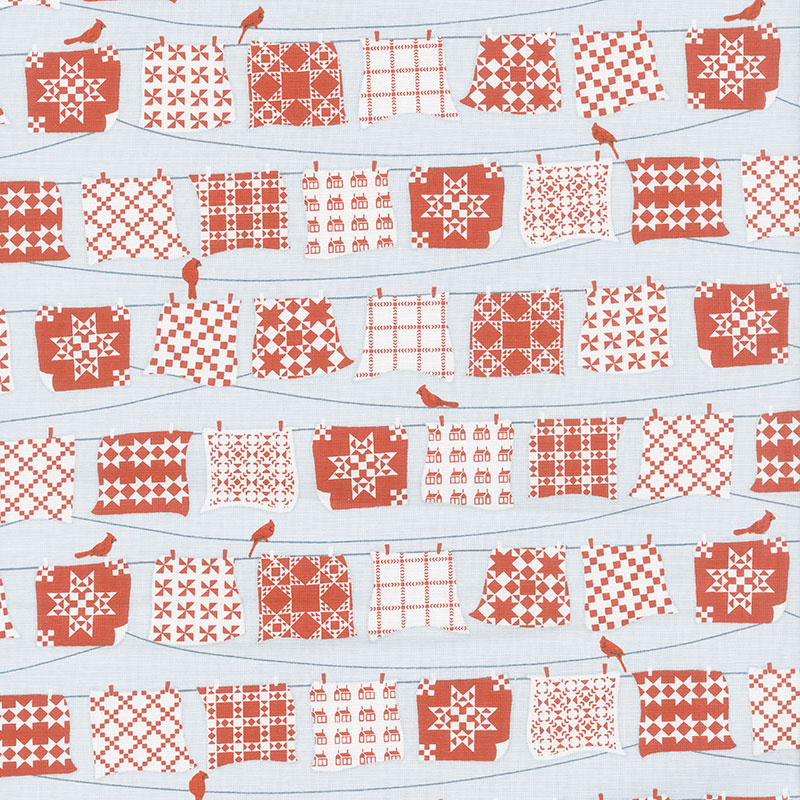 Holiday Heartland - Red and White Quilts Hanging on Line Gray Red Yardage