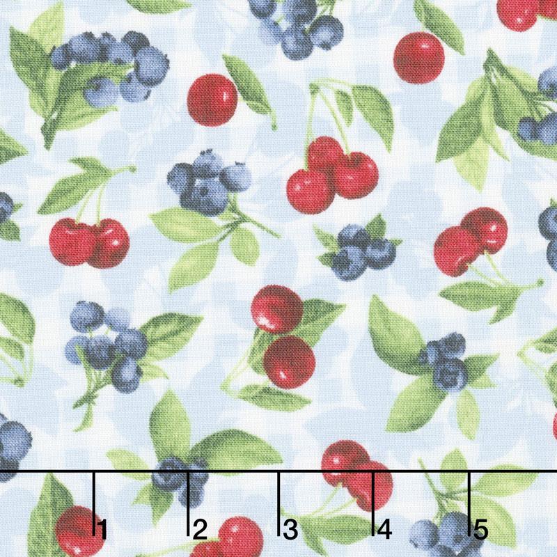 Ambrosia Farm - Cherry Berry Blue Sky Fabric Yardage