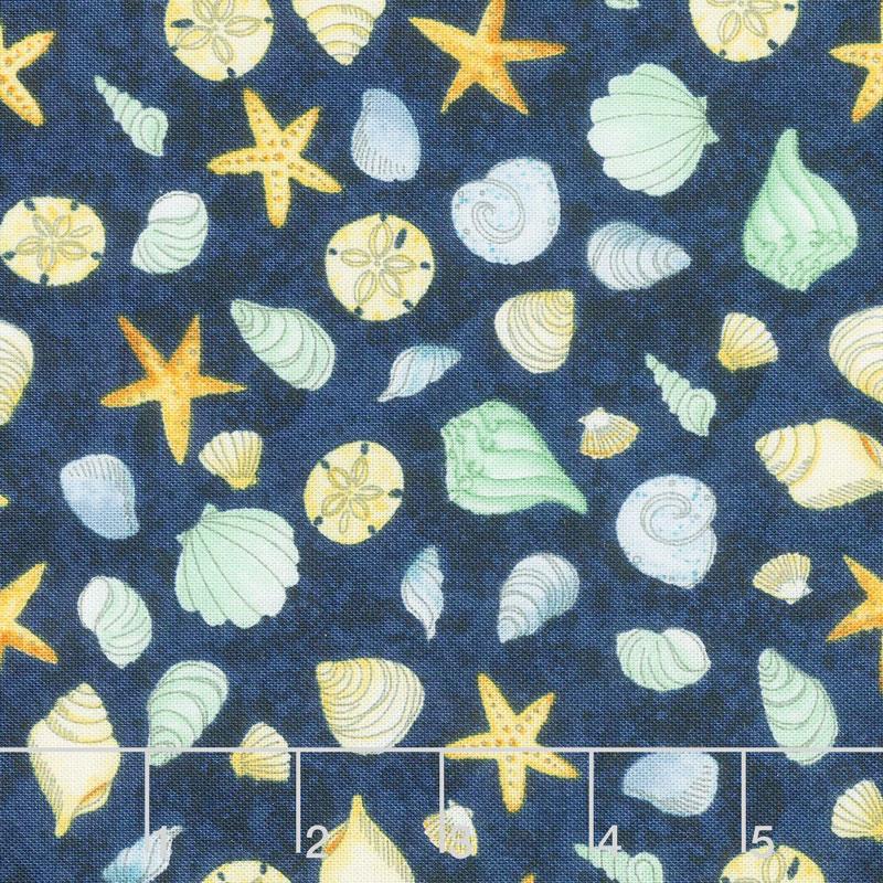 Water Wishes - Seashells Navy Green Yardage