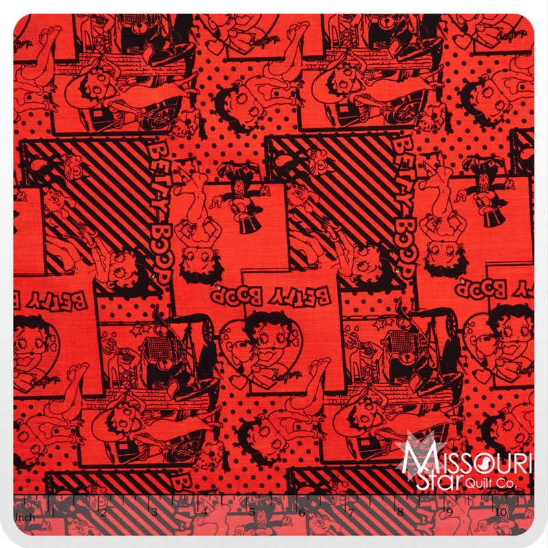 Betty Boop - Retro Scenes Red Yardage