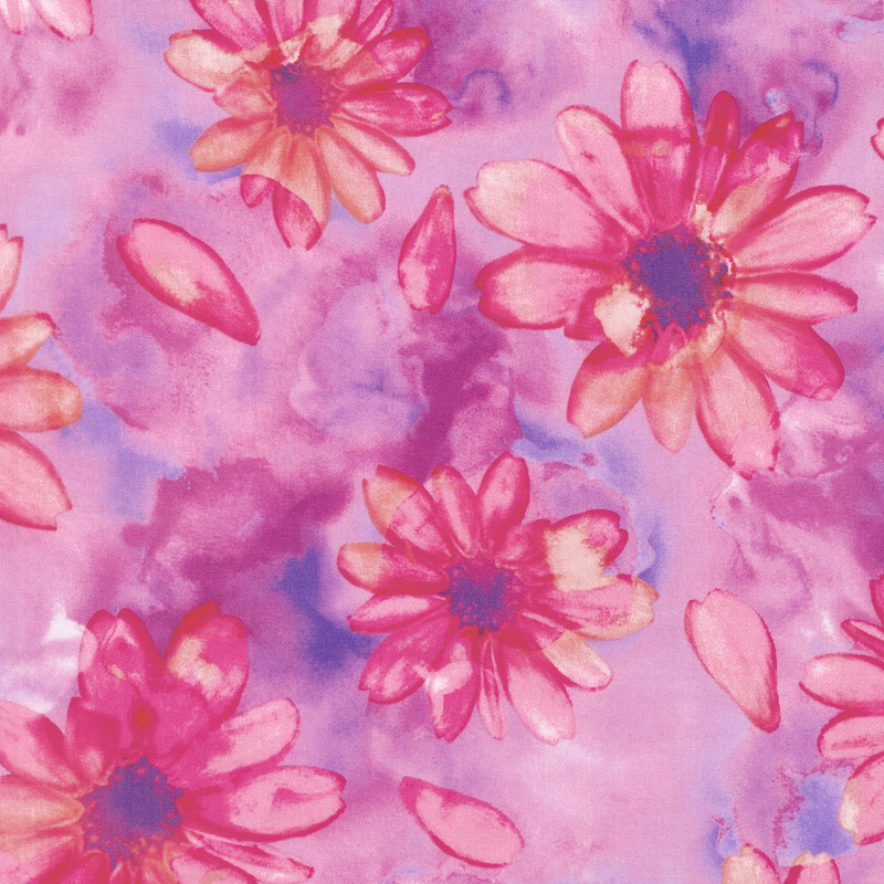 Color Calypso - Berry Large Calypso Floral Berry Yardage