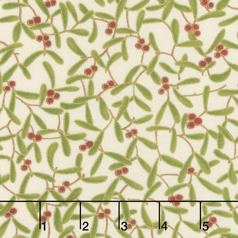 Cardinal Song Metallic - Mistletoe Ivory Yardage