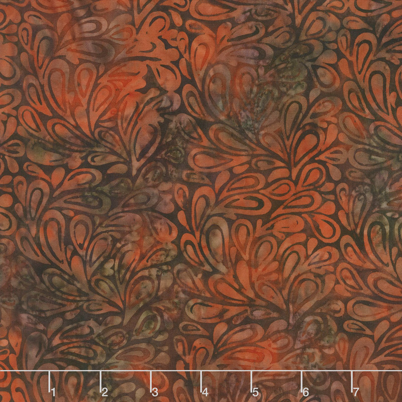 Elk Lodge Batiks - Rust Leaves Yardage