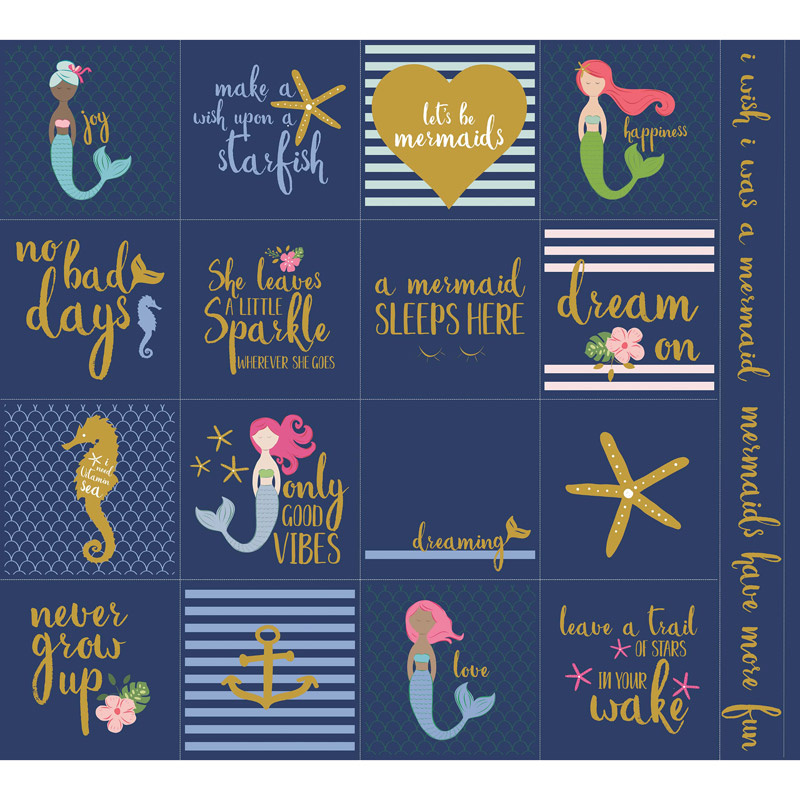 Let's Be Mermaids - Navy Sparkle Panel
