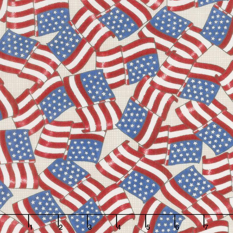 Land That I Love - Waving Flags Barnwood White Yardage