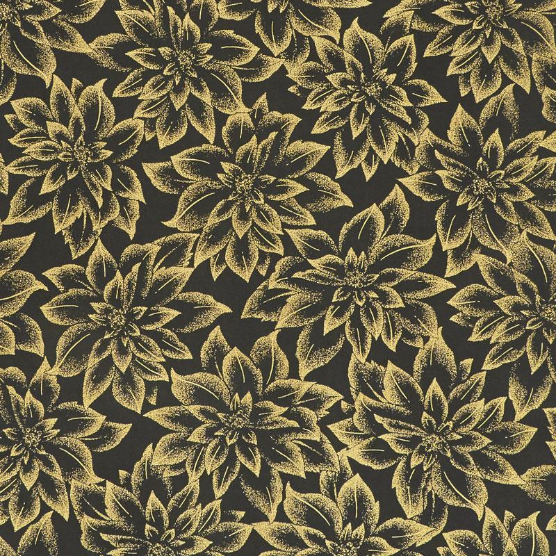 Holiday Flourish 12 - Flowers Black Metallic Yardage