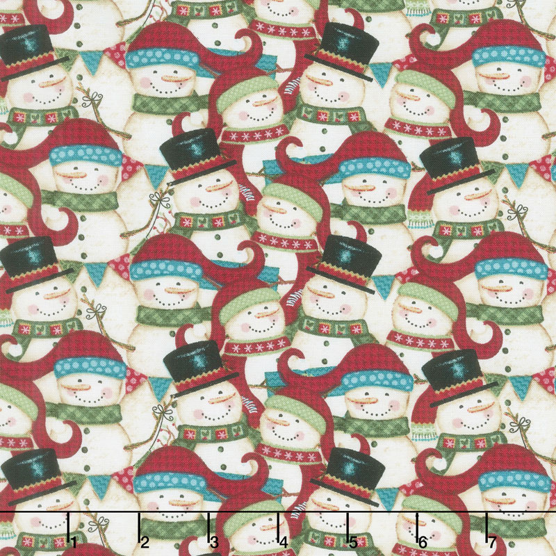 A Holly Jolly Christmas.Holly Jolly Christmas Packed Snowman Yardage