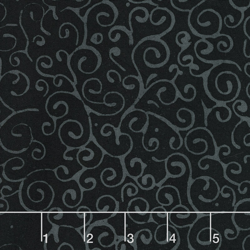 Black Beauty Batiks - Swirls Black and Gray Yardage