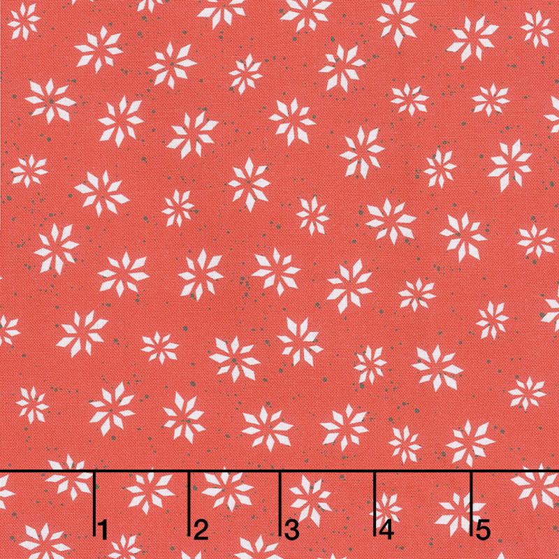 Warm Wishes - Snowflake Star Red Yardage