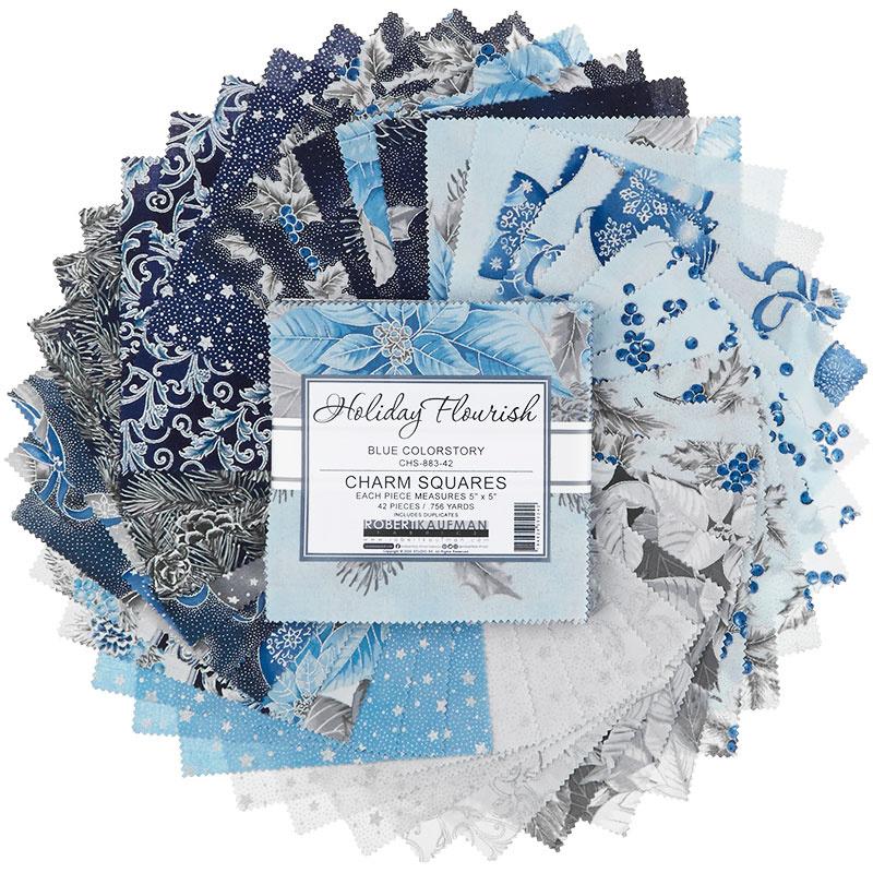 Holiday Flourish 13 Blue Metallic Charm Pack