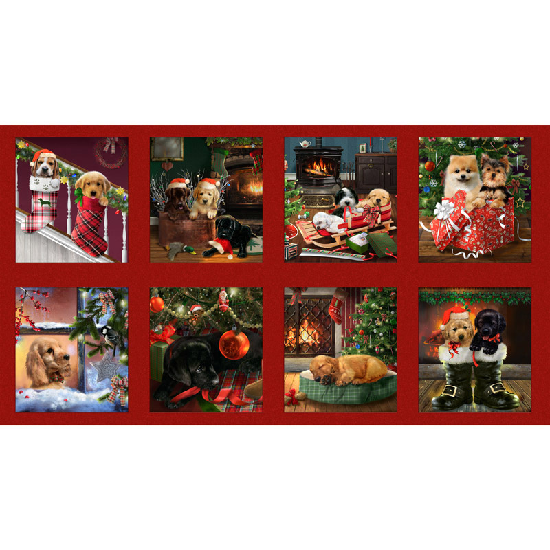 Fireside Pups - Christmas Puppies Block Multi Panel