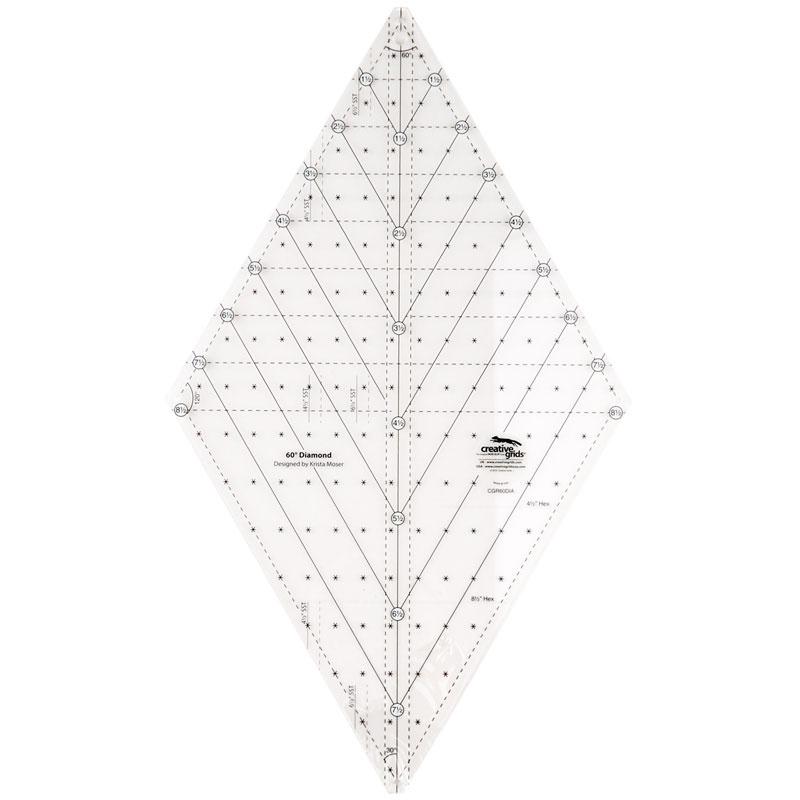 e0d9d570ca Creative Grids 60 Degree Diamond Ruler - Creative Grids - Creative Grids