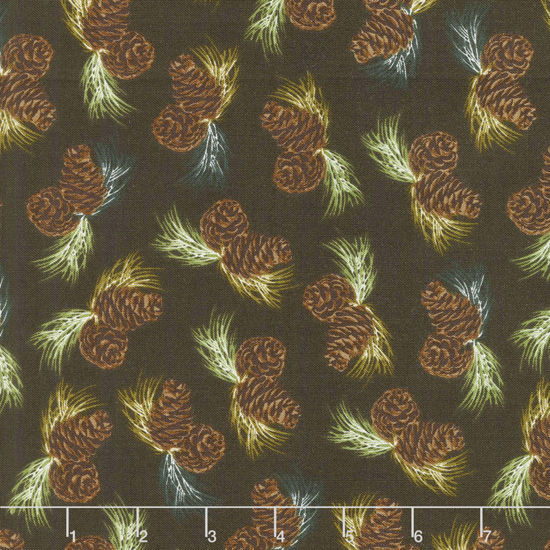 Home Sweet Cabin - Pinecones Brown Yardage