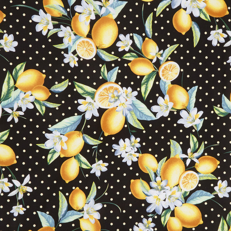 Lemon Fresh - Bouquet Black Yardage