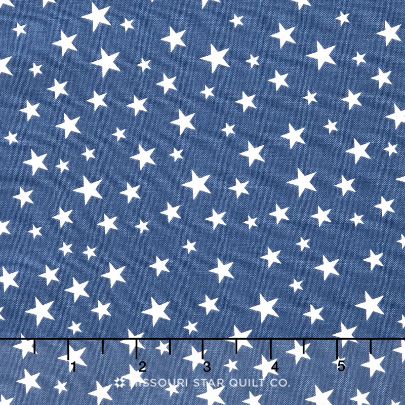 Lost and Found America - Americana Mini Stars Blue Yardage