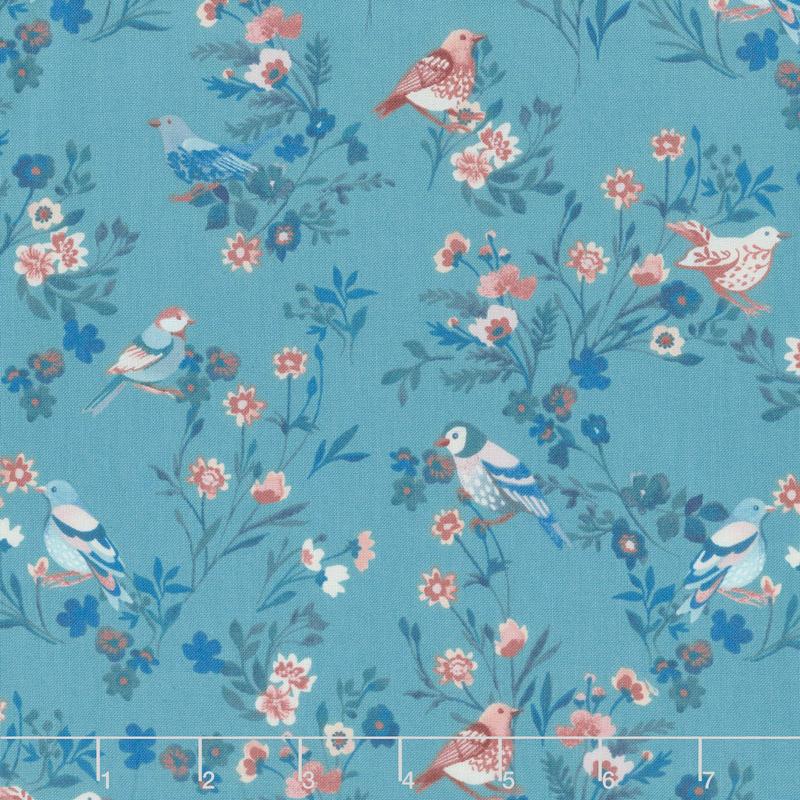 Birdsong - Bird on a Limb Turquoise Yardage