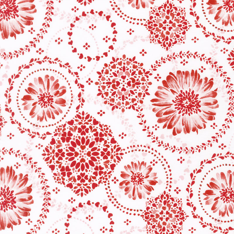 Sugar Berry - Daisy Delight Radiant Cherry with Red Glitter Yardage