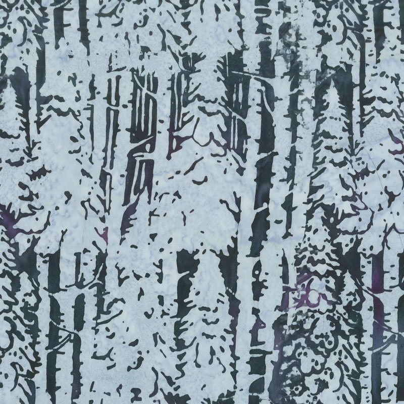 Snowberry Batiks - Snow Trees Eggplant Yardage