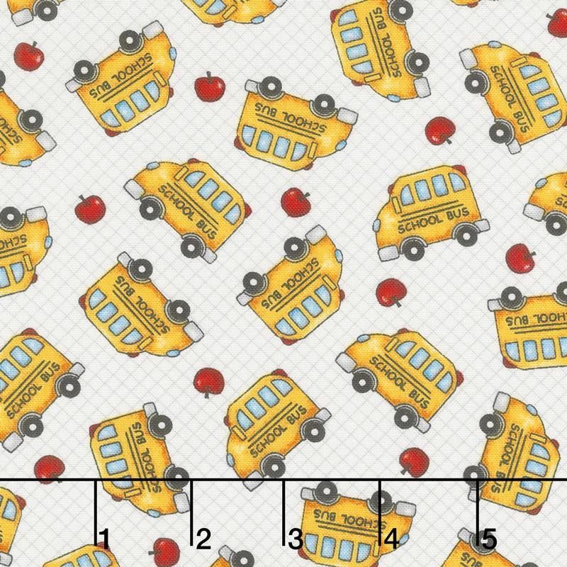 School Zone - School Bus Tossed White Yardage