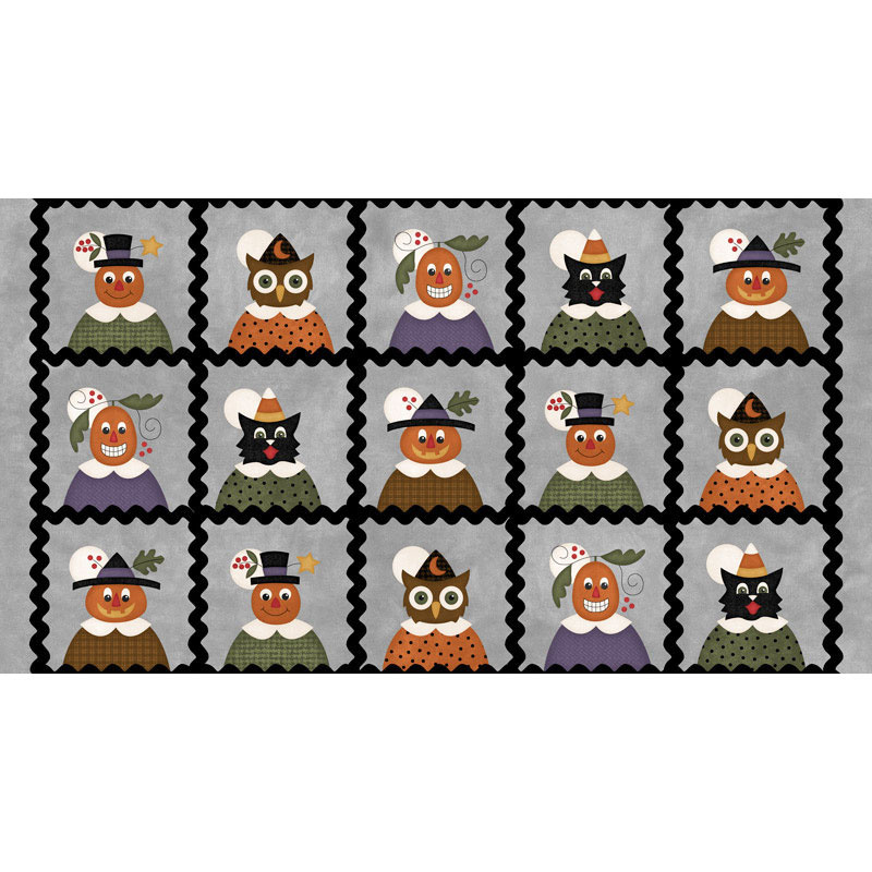 Happy Jacks & Friends - Jack & Friends Squares Gray Flannel Panel