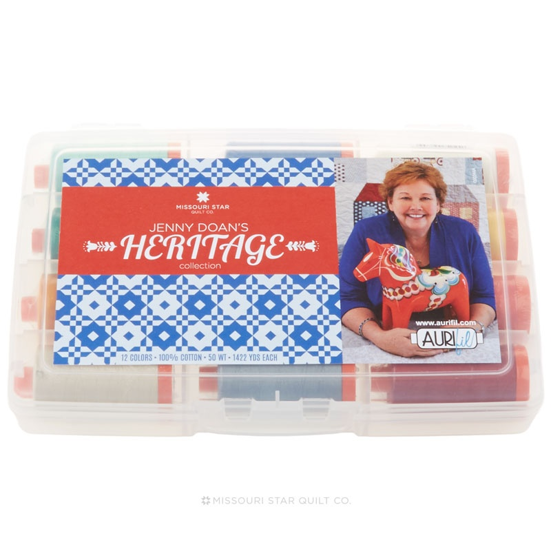 Jenny Doan's Heritage Collection - Aurifil 50 WT Cotton Mako Thread - 12 Large Spool Pack