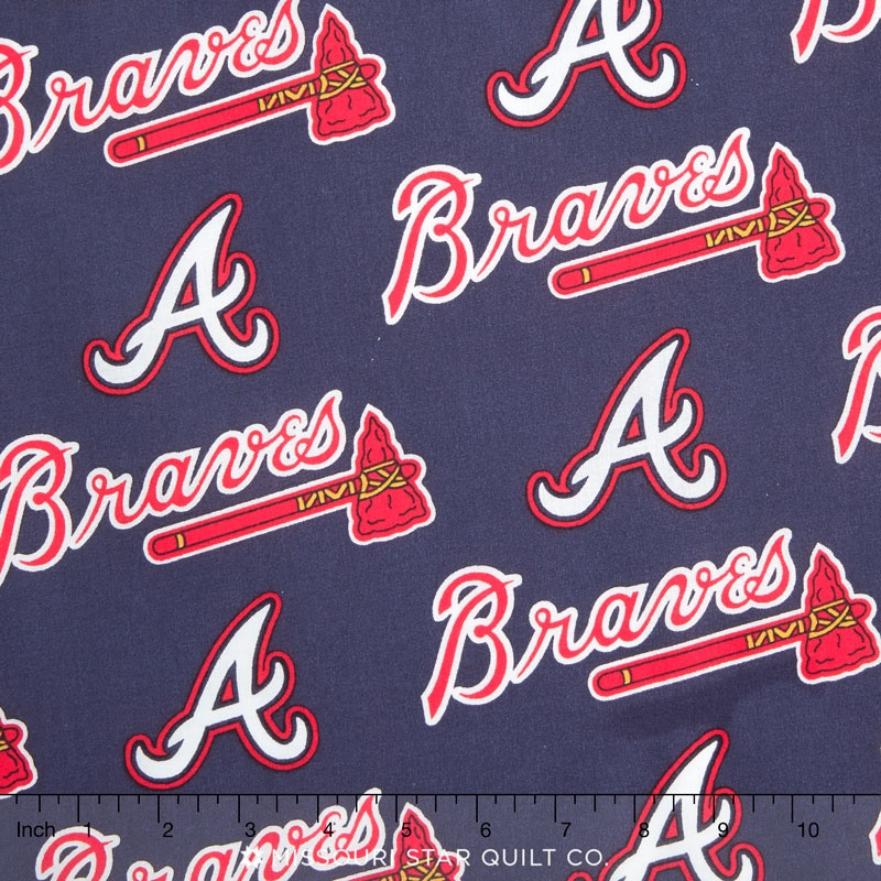 "MLB Atlanta Braves Cotton Fabric 58/"" 60/"""