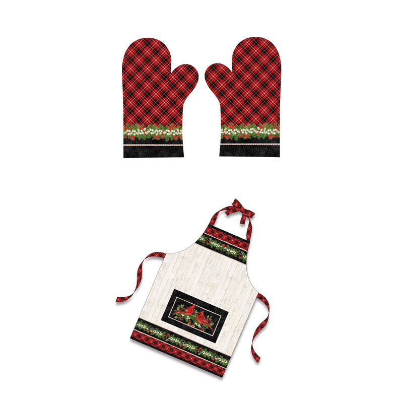 Cardinal Woods - Apron and Oven Mitt Cream Multi Digitally Printed Panel