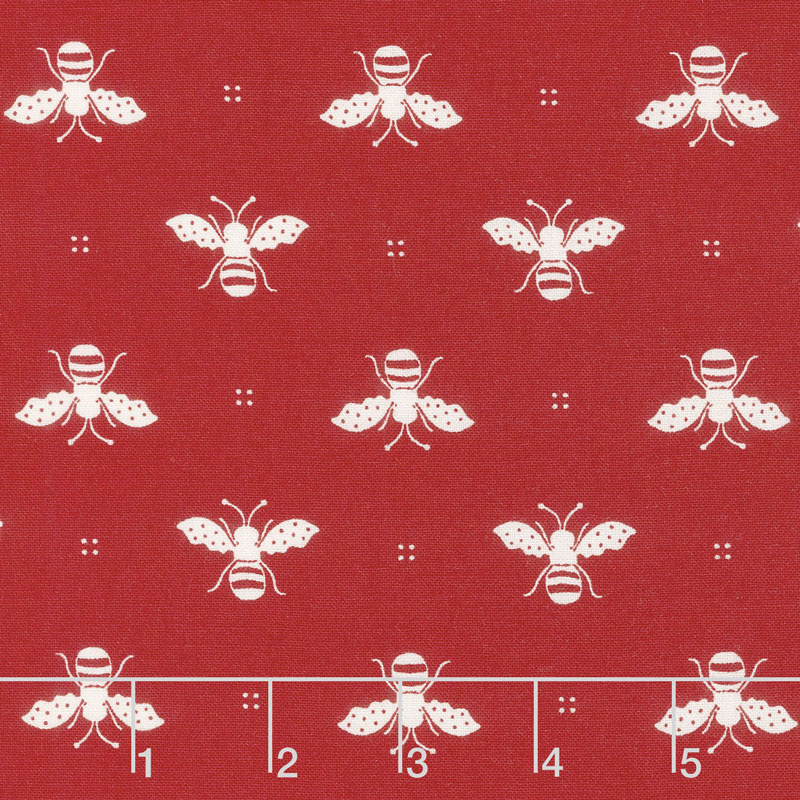 My Redwork Garden - Honey Bee Red Yardage