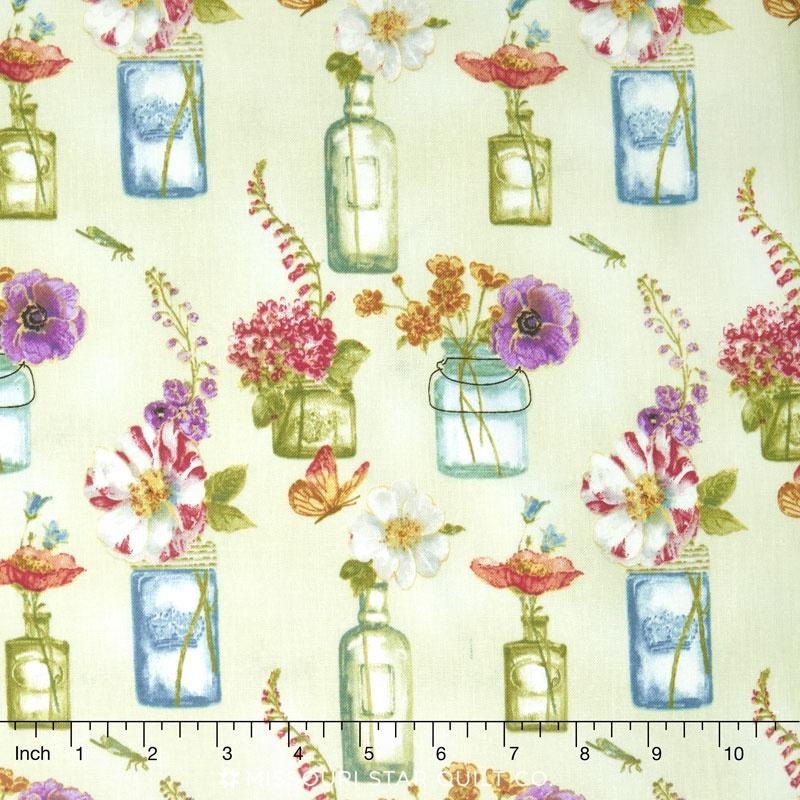 Rainbow Seeds - Floral Vases Green Yardage