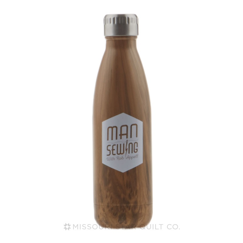 Man Sewing Rockit Stainless Steel Bottle - Wood Finish