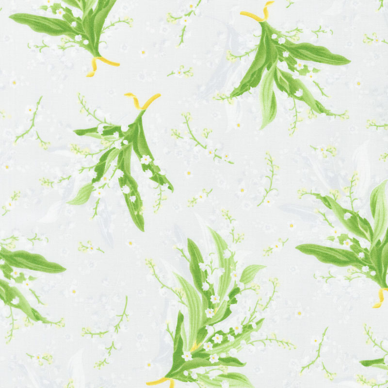 Greenery - Tossed Lily Grey Yardage