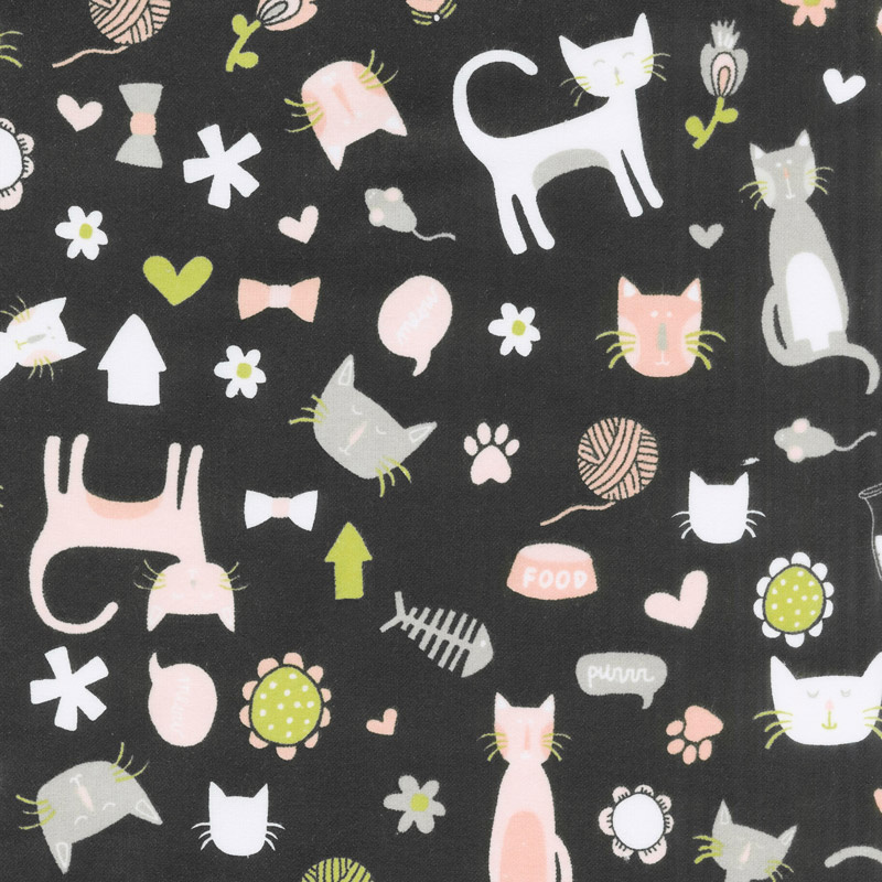 Designer Flannel - Meow Main in Color Black Yardage
