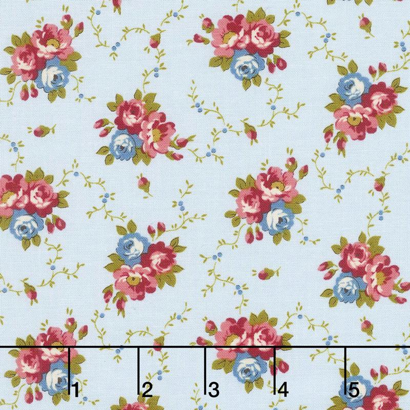Bricolage - Floral Bouquet Blue Yardage