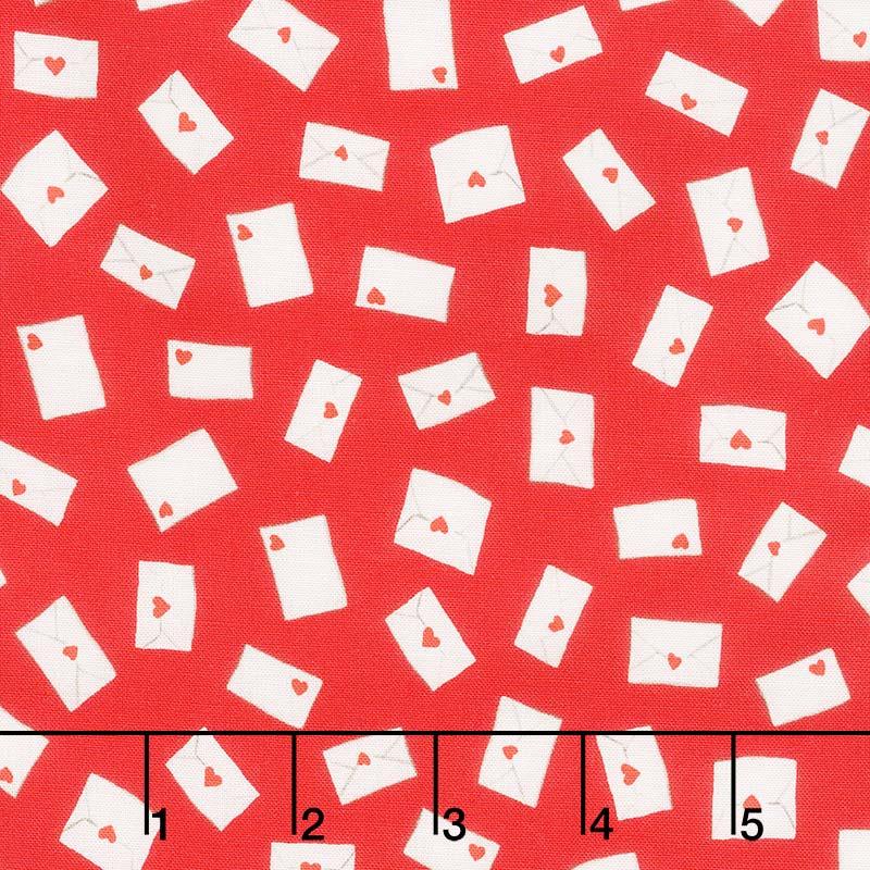 Love Letters - Envelopes Red Yardage