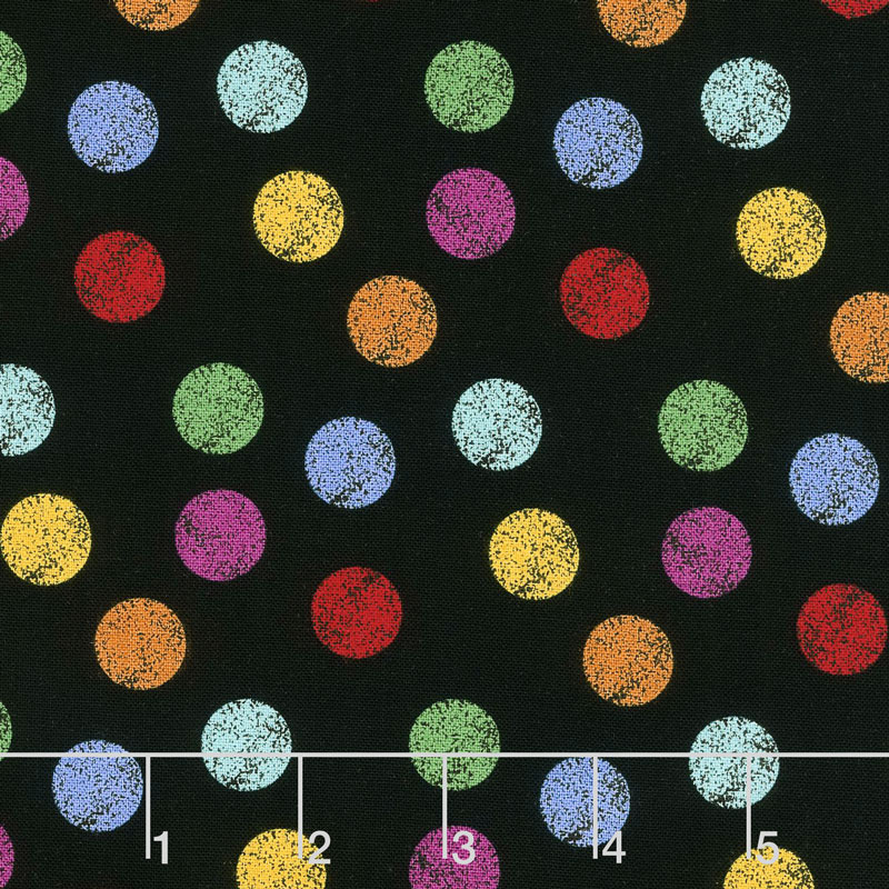 I Dream in Color - Dots Black Multi Yardage