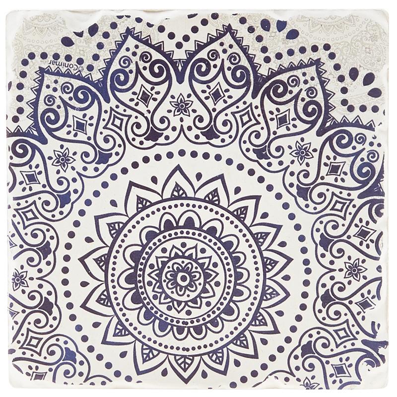 Indigo Patterns Coaster - Spiral Medallion