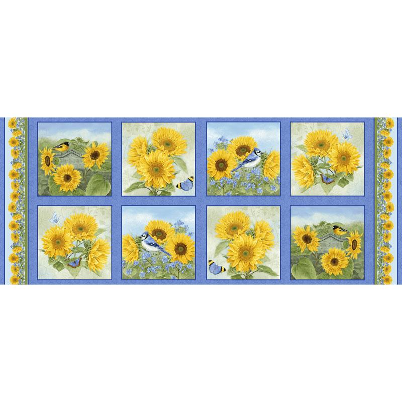 My Sunflower Garden - Block Blue Panel